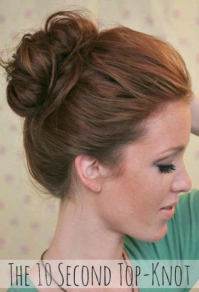 Quick and Easy 10 second topknot hairstyle hack