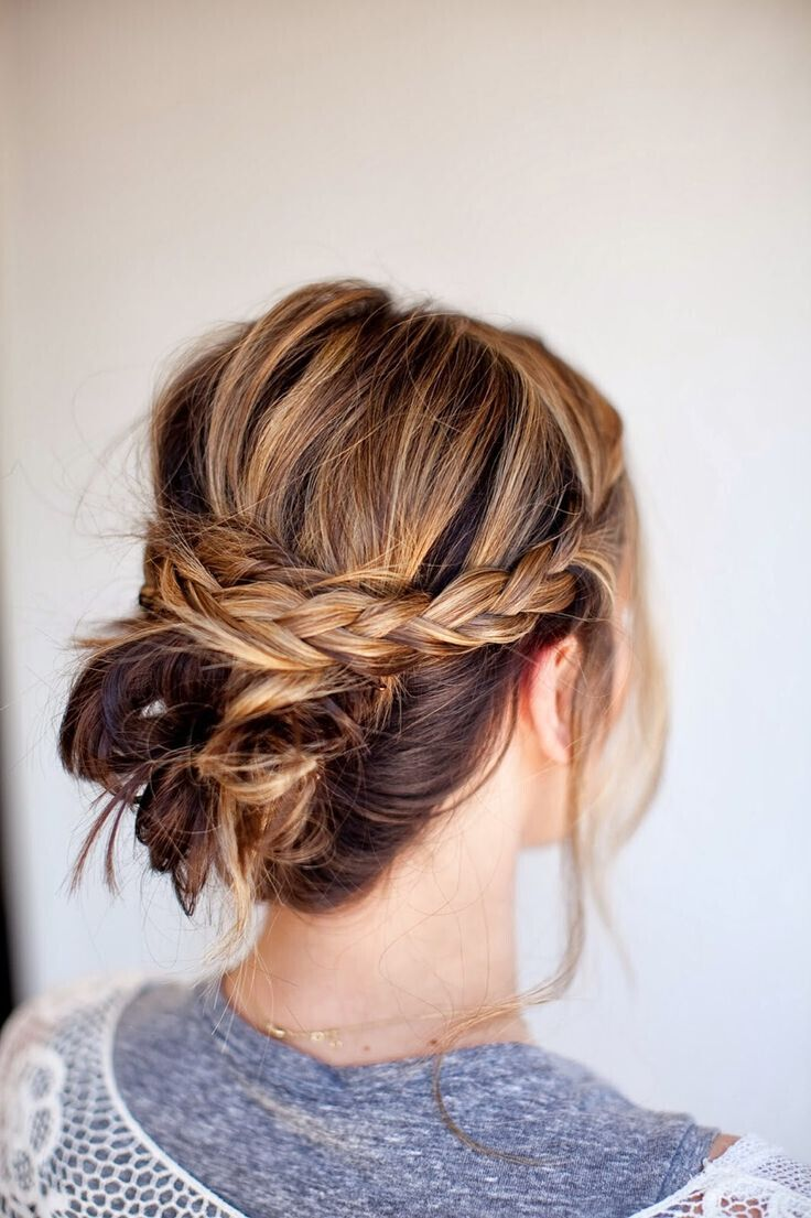 Messy-braid-bun-Easy-updo-hairstyle-for-Medium-Hair