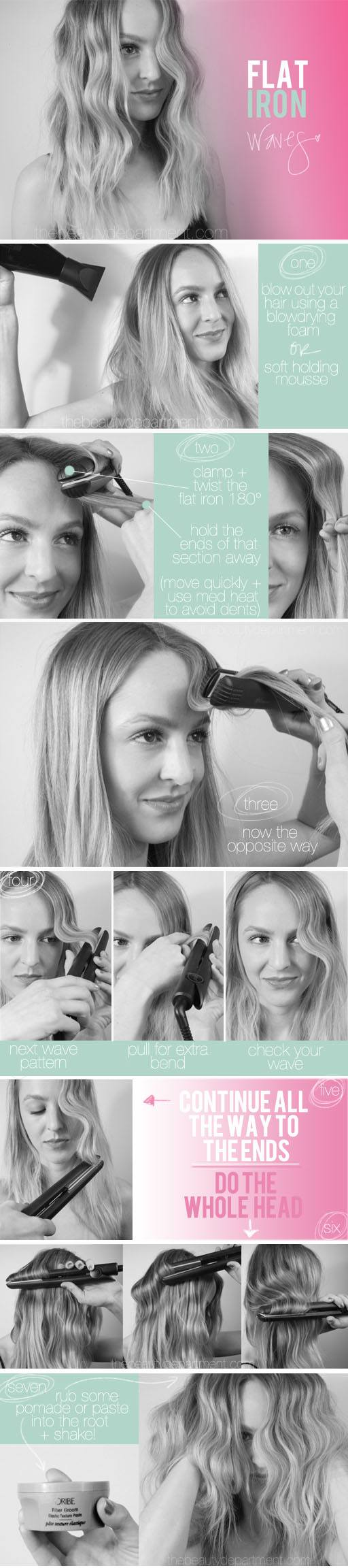 how to beach waves with hair straightener
