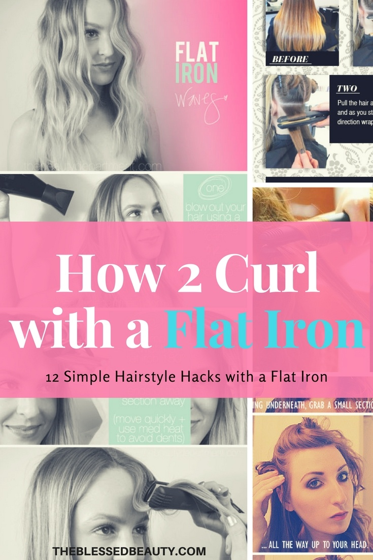 how to curl with flat iron pinterest graphic